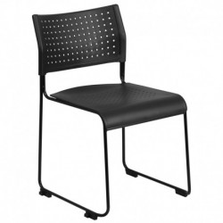 MFO 600 lb. Capacity Black Sled Base Stack Chair with Ganging Brackets