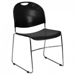 MFO 880 lb. Capacity Black High Density, Ultra Compact Stack Chair with Chrome Frame
