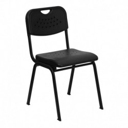 MFO 880 lb. Capacity Black Plastic Stack Chair with Black Powder Coated Frame