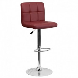 MFO Contemporary Burgundy Quilted Vinyl Adjustable Height Bar Stool with Chrome Base