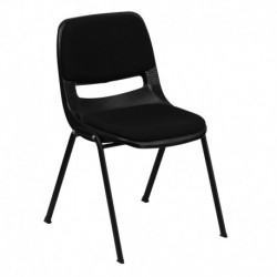 MFO 880 lb. Capacity Black Ergonomic Shell Stack Chair with Padded Seat and Back