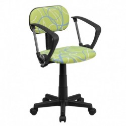 MFO Blue & White Swirl Printed Green Computer Chair with Arms