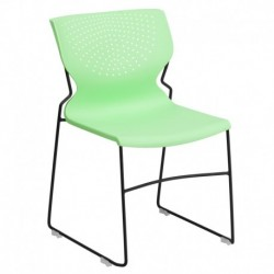 MFO 661 lb. Capacity Green Full Back Stack Chair with Black Frame
