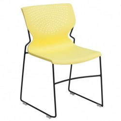 MFO 661 lb. Capacity Yellow Full Back Stack Chair with Black Frame