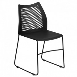 MFO 661 lb. Capacity Black Sled Base Stack Chair with Air-Vent Back