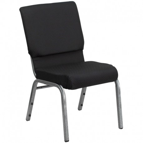 MFO 18.5'' Wide Black Patterned Fabric Stacking Church Chair with 4.25'' Thick Seat - Silver Vein Frame