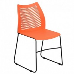 MFO 661 lb. Capacity Orange Sled Base Stack Chair with Air-Vent Back