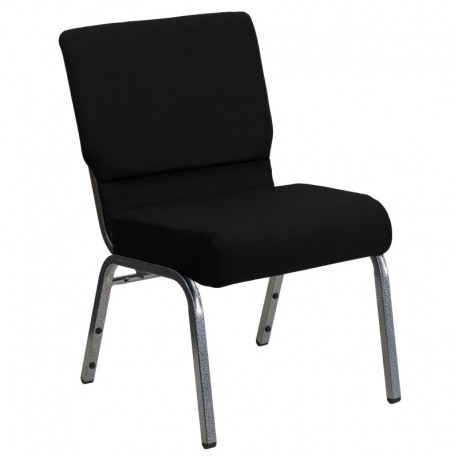 MFO 21'' Extra Wide Black Stacking Church Chair with 3.75'' Thick Seat - Silver Vein Frame