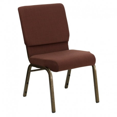 MFO 18.5'' Wide Brown Fabric Stacking Church Chair with 4.25'' Thick Seat - Gold Vein Frame