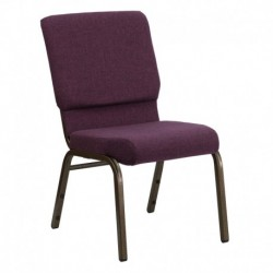 MFO 18.5'' Wide Plum Fabric Stacking Church Chair with 4.25'' Thick Seat - Gold Vein Frame