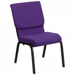 MFO 18.5''W Purple Fabric Stacking Church Chair with 4.25'' Thick Seat - Gold Vein Frame