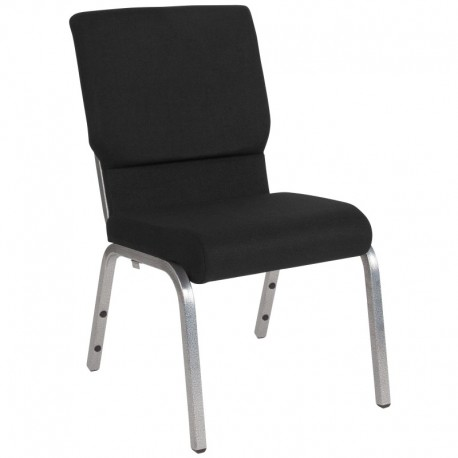 MFO 18.5''W Black Fabric Stacking Church Chair with 4.25'' Thick Seat - Silver Vein Frame