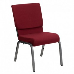 MFO 18.5''W Burgundy Fabric Stacking Church Chair with 4.25'' Thick Seat - Silver Vein Frame