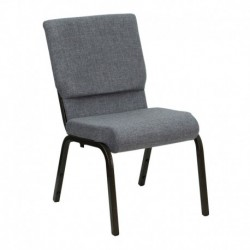 MFO 18.5'' W Gray Fabric Stacking Church Chair with 4.25'' Thick Seat - Gold Vein Frame