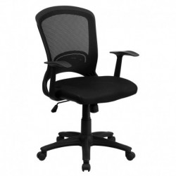 MFO Mid-Back Black Mesh Chair with Padded Mesh Seat