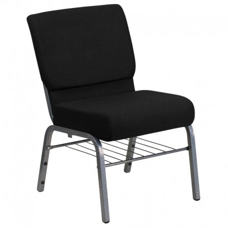 MFO 21'' Extra Wide Black Church Chair with 3.75'' Thick Seat, Book Rack - Silver Vein Frame