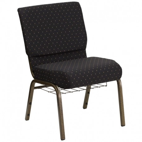 MFO 21'' Extra Wide Black Dot Patterned Fabric Church Chair with 4'' Thick Seat, Communion Cup Book Rack - Gold Vein Frame