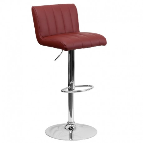 MFO Contemporary Burgundy Vinyl Adjustable Height Bar Stool with Chrome Base