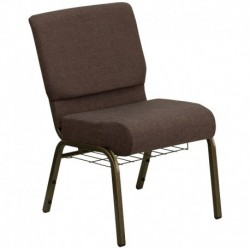 MFO 21'' Extra Wide Brown Fabric Church Chair with 4'' Thick Seat, Communion Cup Book Rack - Gold Vein Frame