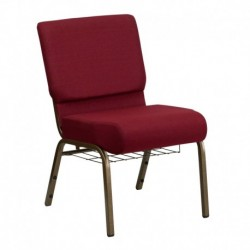 MFO 21'' Extra Wide Burgundy Fabric Church Chair with 4'' Thick Seat, Communion Cup Book Rack - Gold Vein Frame