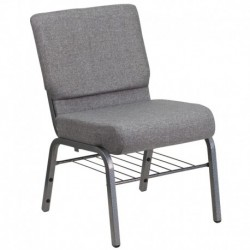 MFO 21'' Extra Wide Gray Church Chair with 3.75'' Thick Seat, Book Rack - Silver Vein Frame