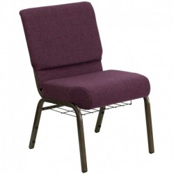 MFO 21'' Extra Wide Plum Fabric Church Chair with 4'' Thick Seat, Communion Cup Book Rack - Gold Vein Frame