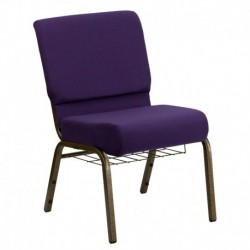 MFO 21'' Extra Wide Royal Purple Fabric Church Chair with 4'' Thick Seat, Communion Cup Book Rack - Gold Vein Frame