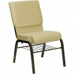 MFO 18.5''W Beige Patterned Fabric Church Chair with 4.25'' Thick Seat, Book Rack - Gold Vein Frame