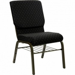 MFO 18.5''W Black Dot Patterned Fabric Church Chair with 4.25'' Thick Seat, Book Rack - Gold Vein Frame