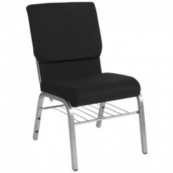 MFO 18.5''W Black Fabric Church Chair with 4.25'' Thick Seat, Book Rack - Silver Vein Frame