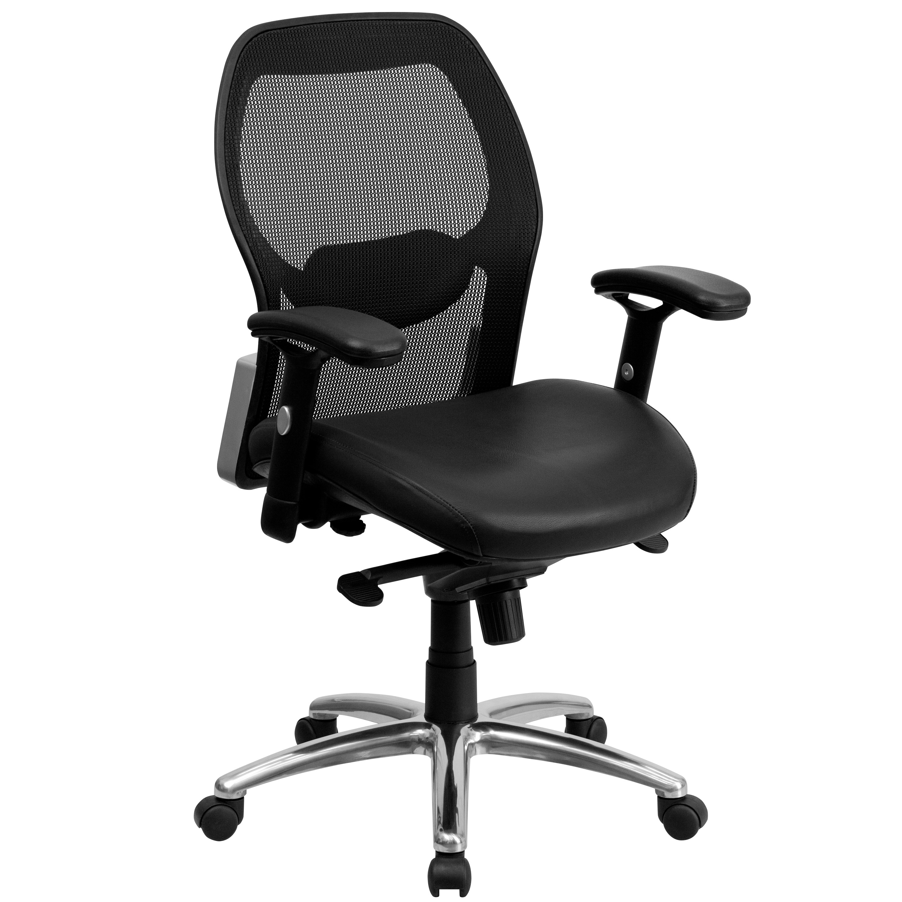 Mfo Mid Back Super Mesh Office Chair With Black Leather Seat And Knee Tilt Control