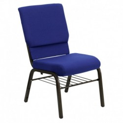 MFO 18.5'' Wide Navy Blue Fabric Church Chair with 4.25'' Thick Seat, Book Rack - Gold Vein Frame