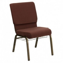 MFO 18.5'' Wide Brown Fabric Church Chair with 4.25'' Thick Seat, Communion Cup Book Rack - Gold Vein Frame
