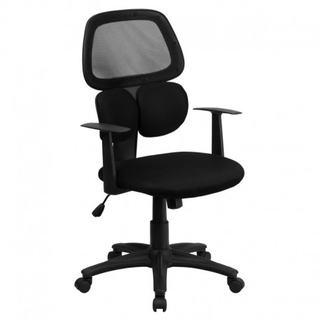 MFO Mid-Back Black Mesh Chair with Flexible Dual Lumbar Support