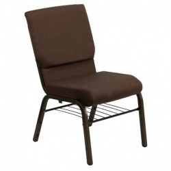 MFO 18.5''W Brown Fabric Church Chair with 4.25'' Thick Seat, Book Rack - Gold Vein Frame