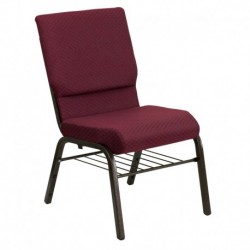 MFO 18.5''W Burgundy Patterned Fabric Church Chair with 4.25'' Thick Seat, Book Rack - Gold Vein Frame