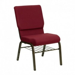 MFO 18.5''W Burgundy Fabric Church Chair with 4.25'' Thick Seat, Book Rack - Gold Vein Frame