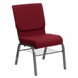MFO 18.5''W Burgundy Fabric Church Chair with 4.25'' Thick Seat, Book Rack - Silver Vein Frame