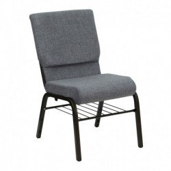 MFO 18.5'' W Gray Fabric Church Chair with 4.25'' Thick Seat, Book Rack - Gold Vein Frame