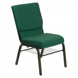 MFO 18.5''W Green Patterned Fabric Church Chair with 4.25'' Thick Seat, Book Rack - Gold Vein Frame