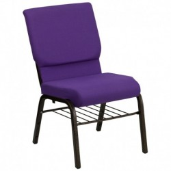 MFO 18.5''W Purple Fabric Church Chair with 4.25'' Thick Seat, Book Rack - Gold Vein Frame