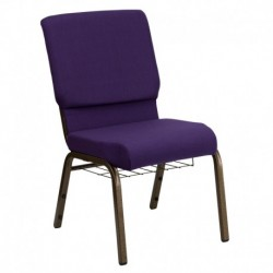 MFO 18.5'' Wide Royal Purple Fabric Church Chair with 4.25'' Thick Seat, Communion Cup Book Rack - Gold Vein Frame
