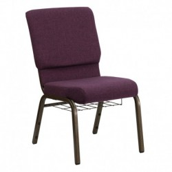 MFO 18.5'' Wide Plum Fabric Church Chair with 4.25'' Thick Seat, Communion Cup Book Rack - Gold Vein Frame