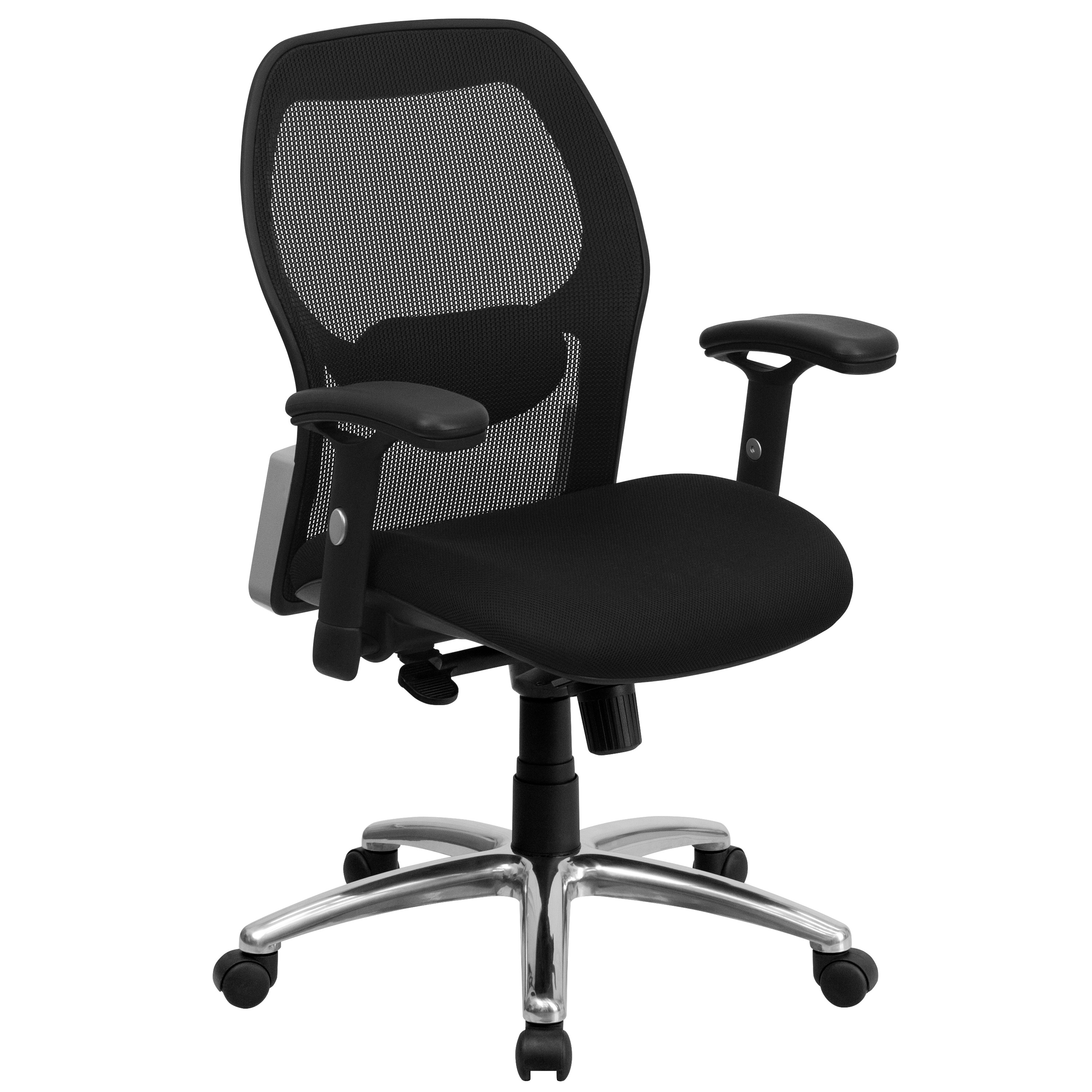 Back Super Fabric Mid Mfo Mesh And Chair Black Office Seat With Ibm6Yfy7vg
