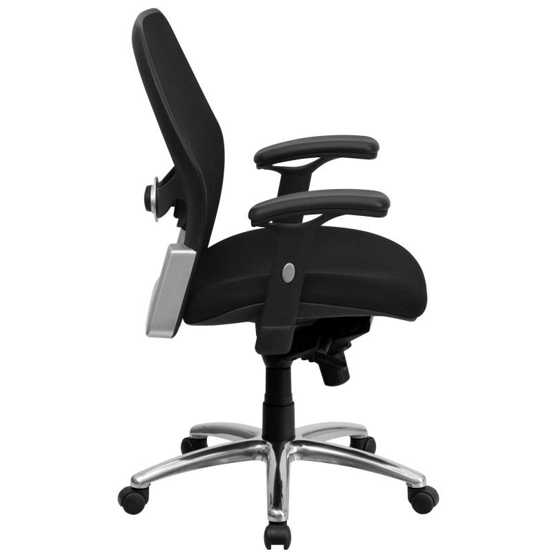 MFO Mid Back Super Mesh Office Chair With Black Fabric Seat And Knee Tilt  Control