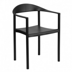 MFO 1000 lb. Capacity Black Plastic Cafe Stack Chair