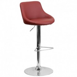 MFO Contemporary Burgundy Vinyl Bucket Seat Adjustable Height Bar Stool with Chrome Base