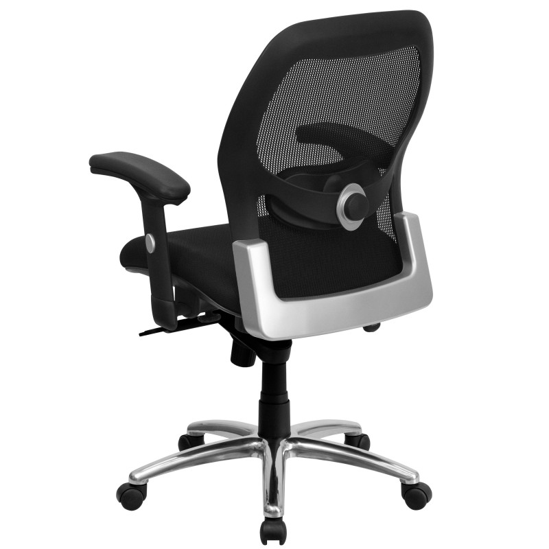 Beautiful MFO Mid Back Super Mesh Office Chair With Black Fabric Seat And Knee Tilt  Control