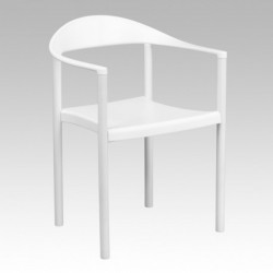 MFO 1000 lb. Capacity White Plastic Cafe Stack Chair
