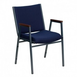 MFO Heavy Duty, 3'' Thickly Padded, Navy Patterned Upholstered Stack Chair with Arms